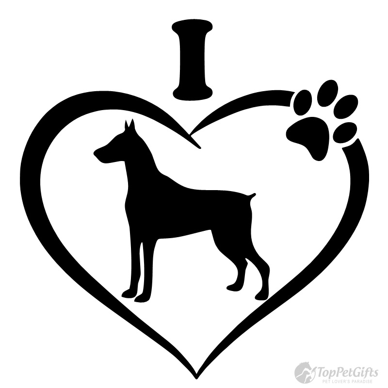 Download I Love My Doberman Decal - Top Pet Gifts