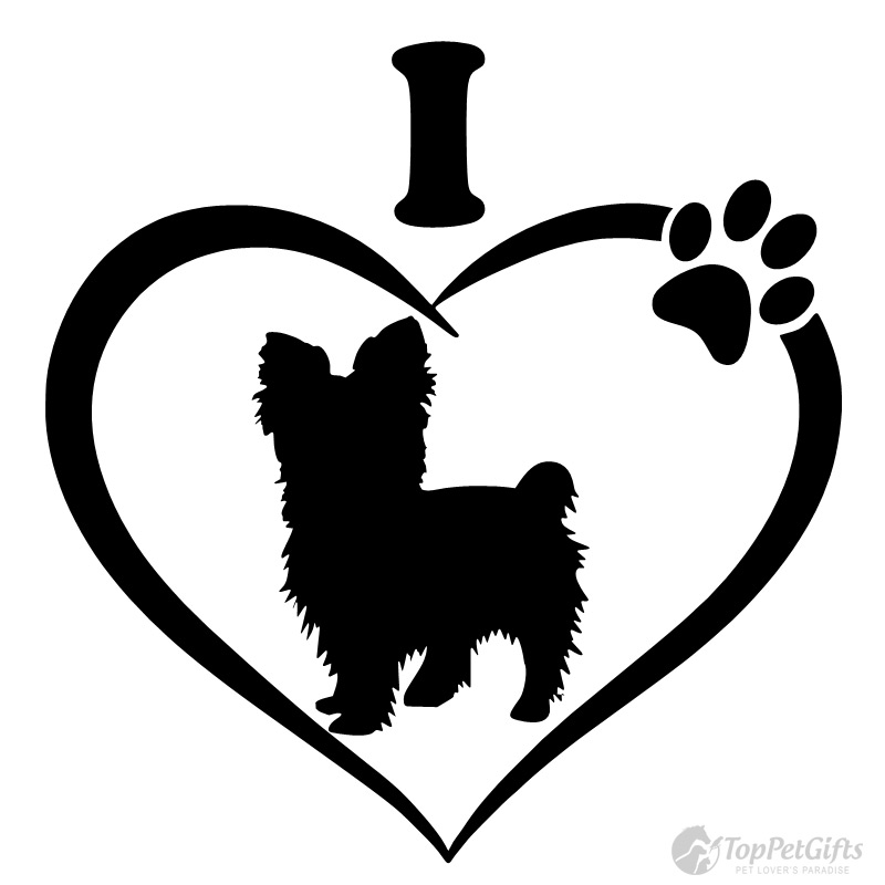 Download I Love My Yorkshire Terrier (Short Hair) Decal - Top Pet Gifts