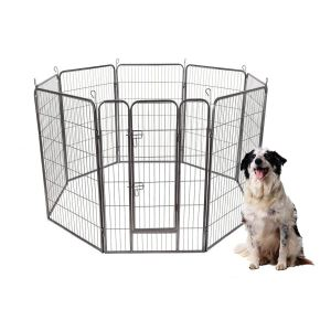 S AFSTAR Safstar 48403224 High 8 Panels Pet Playpen Dog Pets Fence Exercise Pen Gate with Door