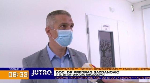 Саздановић: У КЦ Крагујевац хоспитализовано 262 пацијента