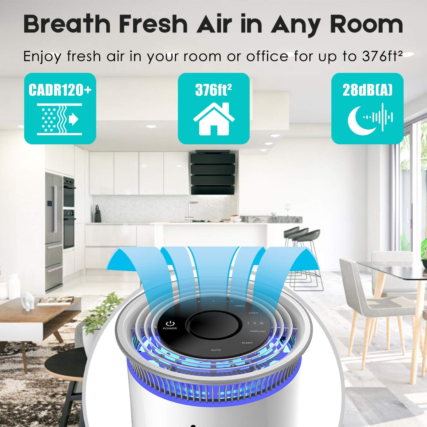 Enther Air Purifier with True HEPA Filter Features