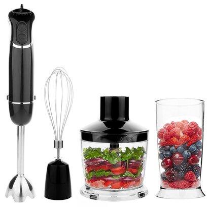 OXA 300 watt 4-in-1 hand blender in black with 500ml food processor bowl and 600ml beaker