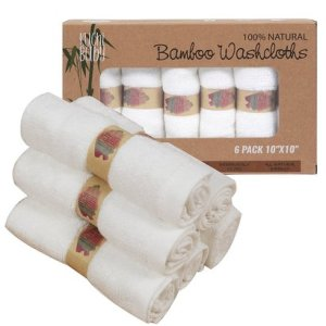 baby bath washcloths 6 ultra soft 100% natural bamboo towels no-dyes kuchi baby gift for sensitive baby skin