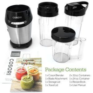 cosori co11-pb blender 9-piece smoothie blender personal blender for shakes and smoothies with travel sport bottle