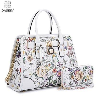 dasein designer padlock striped belted top handle satchel handbag purse shoulder bag with wallet