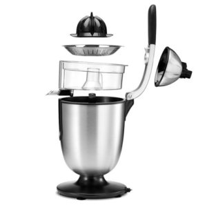 eurolux easy to use stainless-steel motorized citrus juicer with handle and cone lid