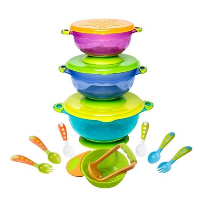 lullababy baby feeding bowls with toddler utensils ultimate baby feeding set mash and serve bowl