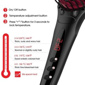 miropure 2 in 1 ionic hair straightener brush with heat resistant