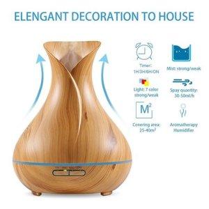nexgadget 400ml bpa free wood grain ultrasonic aromatherapy essential oil diffuser