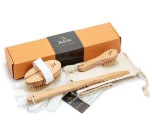 premium dry body brush belula care natural body brushing set