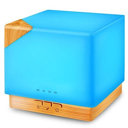 tomcare 700ml square aromatherapy essential oil diffuser humidifier large capacity modern ultrasonic aroma diffusers running 20+ hours 7 color changing