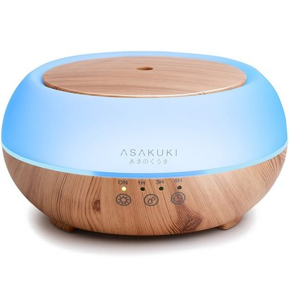 2017 asakuki premium touch sensitive, essential oil diffuser, 300ml 5 in 1 ultrasonic aromatherapy fragrant oil vaporizer purifies and humidifies the air 7 led light colors