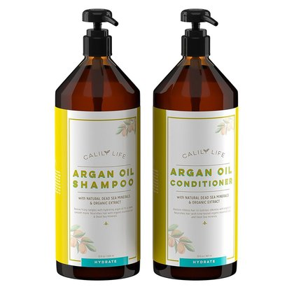 calily life moroccan argan oil shampoo and conditioner with natural dead sea minerals and organic extract