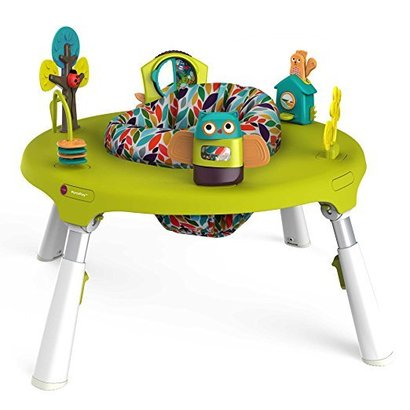 oribel portaplay 4-in-1 first travel foldable activity center turn, bounce, play, transform - forest friends