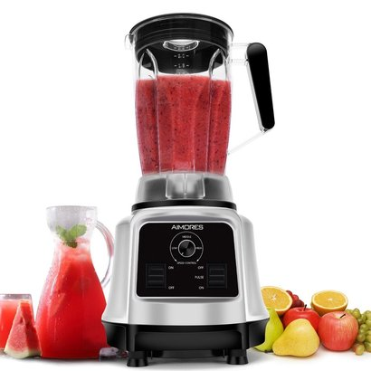 aimores commercial blender with variable speed control, 8 stainless steel blades, 2.2 l big tritan pitcher and recipe book