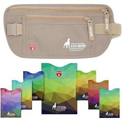 alpha keeper premium rfid money belt for travel – bonus 7 rfid card sleeves