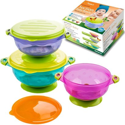babie b spill proof safe suction baby bowls with 3 different size bowls and seal-easy lids