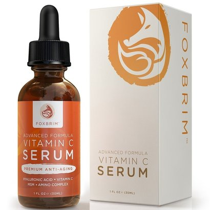 foxbrim anti aging vitamin c serum for face with hyaluronic acid for acne anti wrinkle fine lines fades age spots