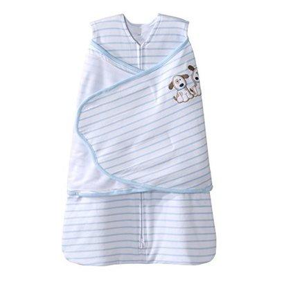 halo sleepsack cotton swaddle for newborn with 3-way adjustable swaddle wrap puppy pals blue stripe