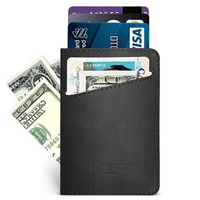huskk minimalistic slim leather card sleeve wallet for men