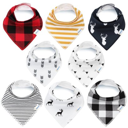 kiddystar bandana drool bibs for boys and girls - pack of 8