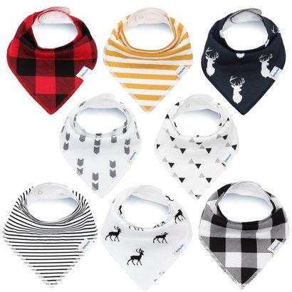 kiddystar bandana drool bibs for boys and girls - pack of 8