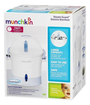 munchkin steam guard electric sterilizer for 9 bottles and accessories