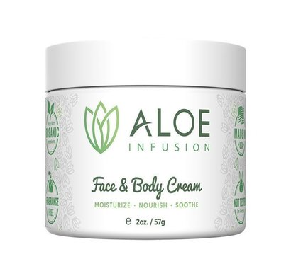 aloe infusion organic face and body moisturizer cream deep hydration formula for soothe irritated and sensitive skin 2 oz