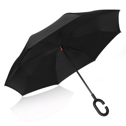 bagail reverse folding double layers c shape umbrella windproof uv protection umbrella with hands free handle
