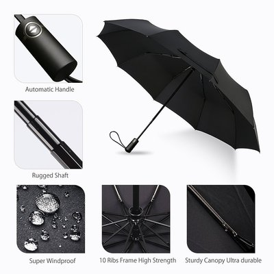 bodyguard travel 210t finest reinforced windproof umbrella with 10 fiberglass ribs, teflon coating and automatically open/close