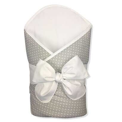 bundlebee baby coconut fiber wrap, swaddle or blanket in feather light-grey polka dot for babies of 0-4 months