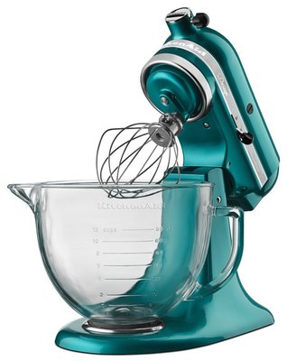 kitchenaid ksm155gbsa artisan design series 5-quart tilt-head stand mixer with glass bowl
