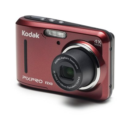 """kodak pixpro friendly zoom fz43 16 mp hd video digital camera with 4X optical zoom and 2.7"""" lcd screen in red"""