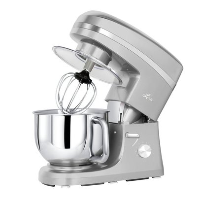litchi sm983s stand mixer 650w 6 speed with mixing blade, flex beater, dough hook, and whisk in silver color