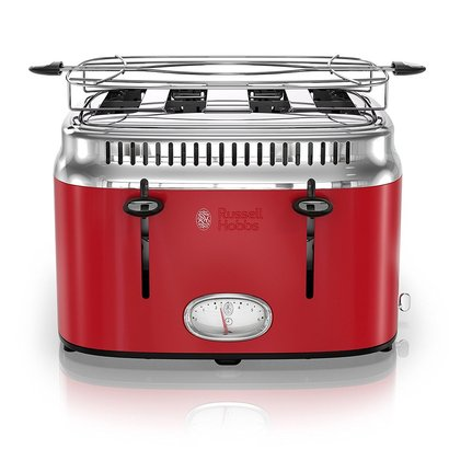 russell hobbs 4-slice retro style toaster of stainless steel with removable warming rack and crumb tray