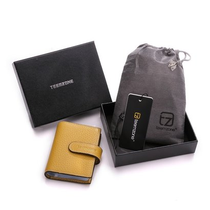 teemzone women's leather rfid blocking wallet business credit id card case name card holder bag in gift box