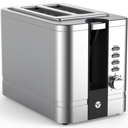 vremi wide slots 2 slice toaster of stainless steel with pop up reheat defrost and removable crumb tray