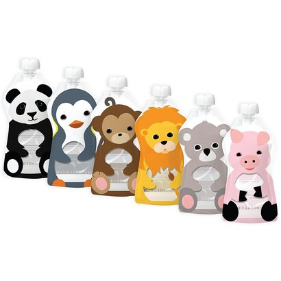 6 large animal pouches reusable food pouch from squooshi