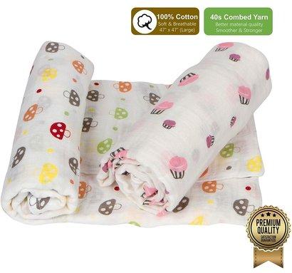 amazrock baby muslin swaddle blanket of 100% cotton - large size multi-use swaddle blanket 47 x 47 inch