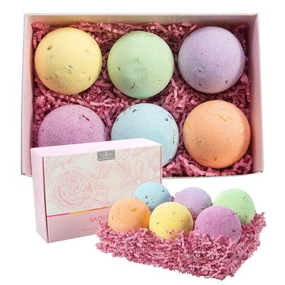 anjou six pieces bath bomb gift set made of 6 kinds of essential oils for moisturizing skin care