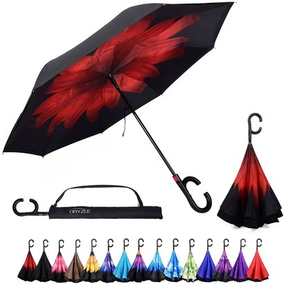 dryzle reverse inverted umbrella with c-shaped handle and one touch auto open button includes umbrella cover with sling