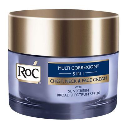 roc multi correxion 5 in 1 chest, neck and face cream with sunscreen broad spectrum spf 30