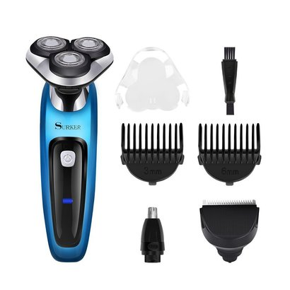 surker 3 in 1 hair and beard trimer electric rotary shaver with double-blade technology and ipx waterproof rating