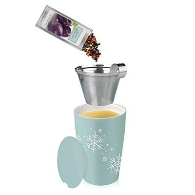 tea forté loose tea starter set steeping cup with infuser includes 10 single steeps tea pouches holiday gift set