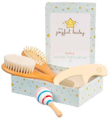 the joyful baby premium 4-pack baby wooden brush set includes natural goat hair bristles brush, wooden bristles brush, wooden comb and sensory wooden toy