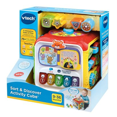 vtech sort and discover activity cube includes 75 songs, melodies, sounds, phrases, 6 activities and 2 electronic panels
