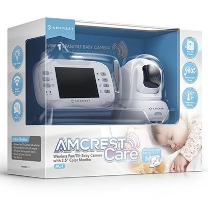 amcrest ac-1 wireless pan and tilt digital zoom video baby camera with 3.5'' lcd color monitor, 2 way audio communication and temperature sensor