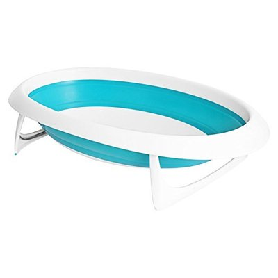 boon naked collapsible baby bathtub with two support positions for newborn to toddler