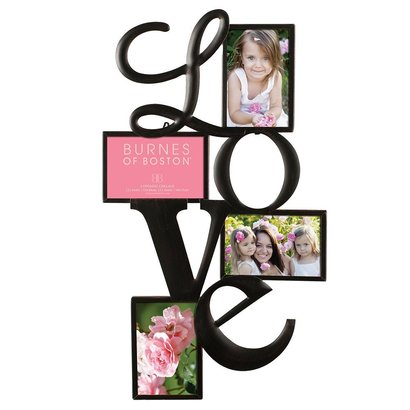"""burnes of boston """"love"""" word-collage metal wall hanging photo frame for 4 photos"""