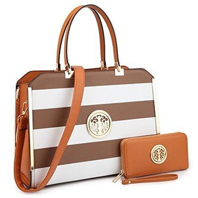 dasein fashion striped saffiano crosshatch textured structured bag with matching wallet